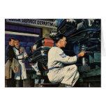 Vintage Business Auto Mechanic, Car Repair Service Greeting Card