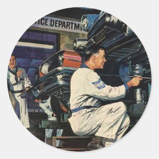 Vintage Business Auto Mechanic, Car Repair Service Classic Round Sticker
