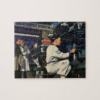 Vintage Business Auto Mechanic, Car Repair Service Jigsaw Puzzle