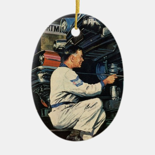 Vintage Business Auto Mechanic, Car Repair Service Double-Sided Oval Ceramic Christmas Ornament