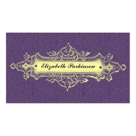 Purple with Elegant Vintage Ornament Business Cards