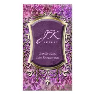Vintage Business Card Damask Frame Gold Purple