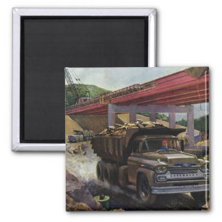 Vintage Business Construction Site with Dump Truck 2 Inch Square Magnet