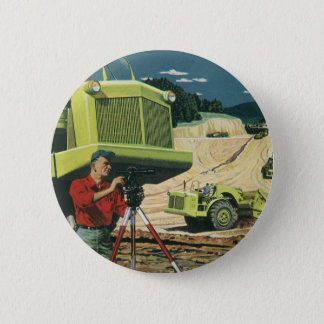 Vintage Business, Construction Site with Surveyor Pinback Button
