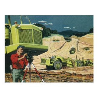 Vintage Business, Construction Site with Surveyor Postcard