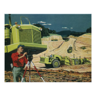 Vintage Business, Construction Site with Surveyor Poster