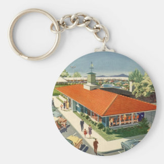 Vintage Business, Customers at a Family Restaurant Keychain