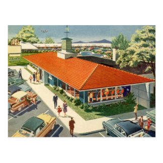 Vintage Business, Customers at a Family Restaurant Postcard