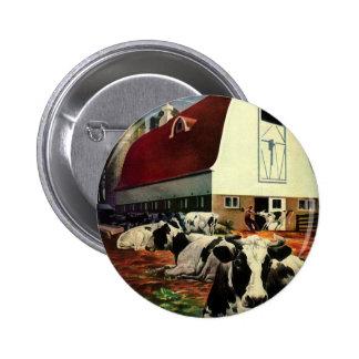 Vintage Business, Dairy Farm w Holstein Milk Cows 2 Inch Round Button
