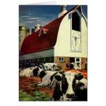 Vintage Business, Dairy Farm w Holstein Milk Cows Greeting Card