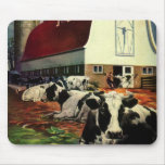 Vintage Business, Dairy Farm w Holstein Milk Cows Mouse Pad