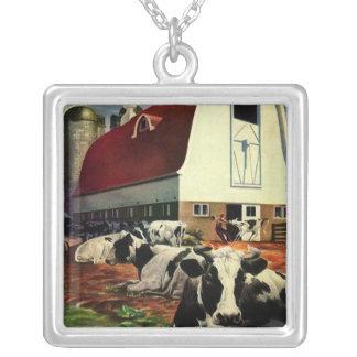 Vintage Business Dairy Farm w Holstein Milk Cows Pendant