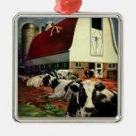 Vintage Business, Dairy Farm w Holstein Milk Cows Christmas Tree Ornament