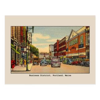 Vintage Business District, Portland, ME Postcard