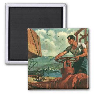 Vintage Business, Dock Worker and Oil Tanker Ship Fridge Magnets