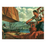 Vintage Business, Dock Worker Refueling a Ship Invitations