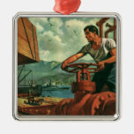 Vintage Business, Dock Worker Refueling a Ship Christmas Ornaments