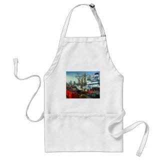 Vintage Business, Docked Cargo Ship Transportation Adult Apron