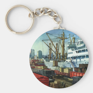 Vintage Business, Docked Cargo Ship Transportation Keychain