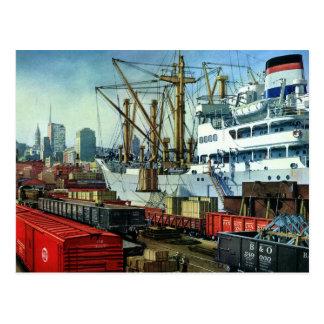 Vintage Business, Docked Cargo Ship Transportation Postcard