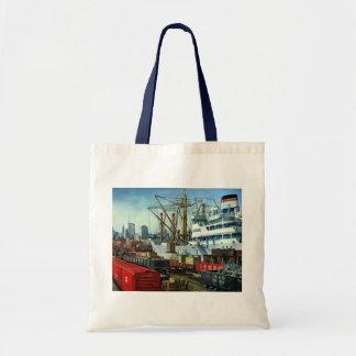 Vintage Business, Docked Cargo Ship Transportation Tote Bag