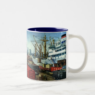 Vintage Business, Docked Cargo Ship Transportation Two-Tone Coffee Mug