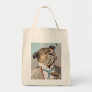 Vintage Business Dog Organic Grocery Tote