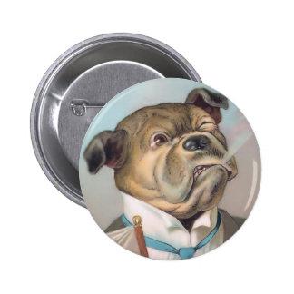 Vintage Business Dog Round Button