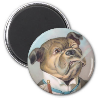 Vintage Business Dog Round Magnet