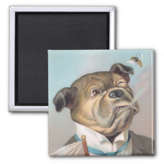 Vintage Business Dog Square Magnet