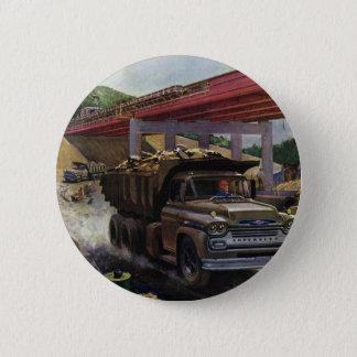 Vintage Business Dump Truck at a Construction Site Button