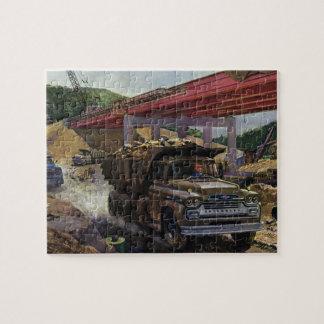 Vintage Business Dump Truck at a Construction Site Jigsaw Puzzle