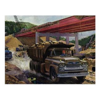 Vintage Business Dump Truck at a Construction Site Postcard