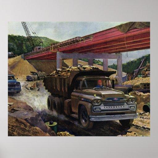 Vintage Business Dump Truck at a Construction Site Poster