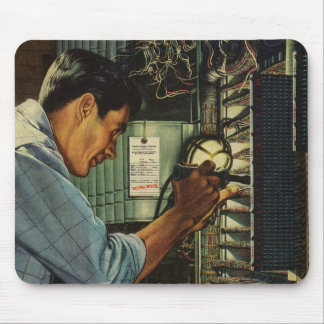 Vintage Business Electrician Circuit Breaker Panel Mouse Pad