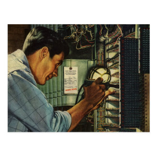 Vintage Business Electrician Circuit Breaker Panel Postcards