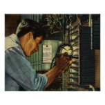 Vintage Business Electrician Circuit Breaker Panel Posters