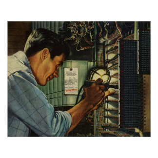 Vintage Business Electrician Circuit Breaker Panel Poster