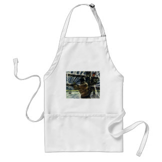 Vintage Business Electrician Working in Snow Storm Adult Apron