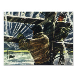 Vintage Business Electrician Working in Snow Storm Card