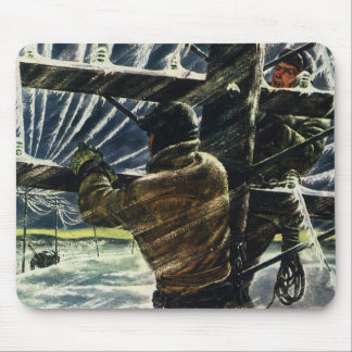 Vintage Business Electrician Working in Snow Storm Mouse Pad