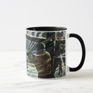 Vintage Business Electrician Working in Snow Storm Mug