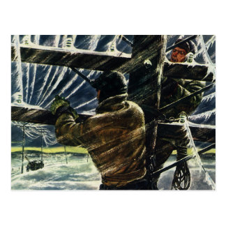 Vintage Business Electrician Working in Snow Storm Postcard