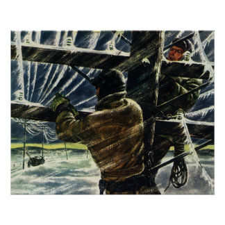 Vintage Business Electrician Working in Snow Storm Poster