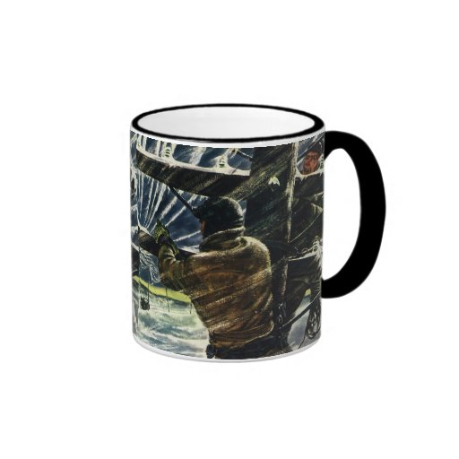 Vintage Business Electricians Work in a Snow Storm Ringer Coffee Mug