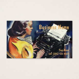 Vintage Business Executive Secretary Typing Letter Business Card