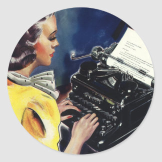 Vintage Business Executive Secretary Typing Letter Classic Round Sticker