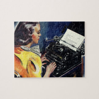 Vintage Business Executive Secretary Typing Letter Jigsaw Puzzle