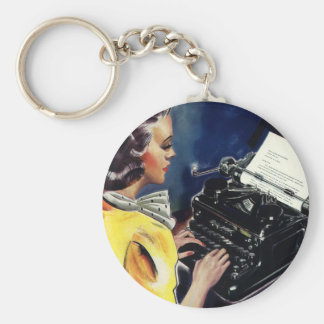 Vintage Business Executive Secretary Typing Letter Keychain