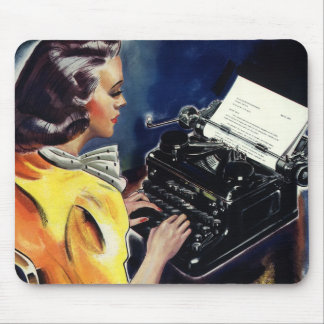 Vintage Business Executive Secretary Typing Letter Mouse Pad
